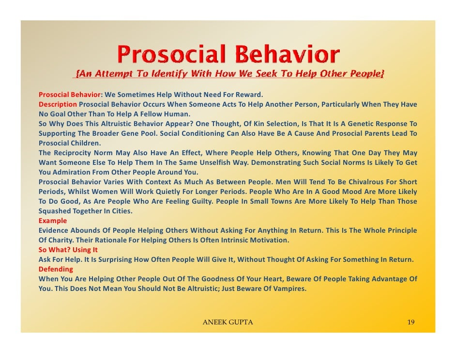 aggression and prosocial behavior Summary-the effects of four school-based interventions designed to decrease  chiidren's aggression and promote prosocial behavior were assessed.
