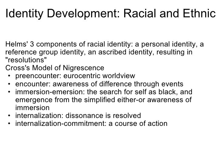 racial identity development Minority identity development model helms' white racial identity development model 1 contact status--oblivious to and unaware of racism 2.