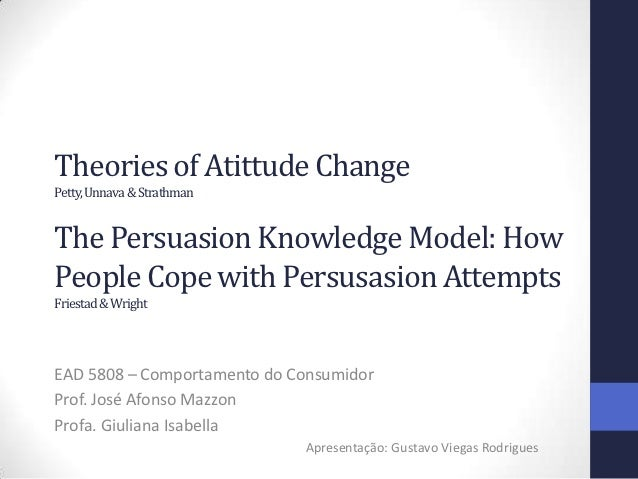 Theories of Atittude ChangePetty, Unnava & StrathmanThe Persuasion Knowledge Model: HowPeople Cope with Persusasion Attemp...