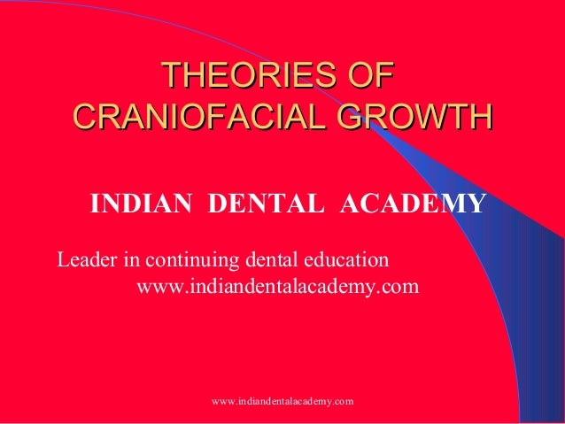 THEORIES OF CRANIOFACIAL GROWTH INDIAN DENTAL ACADEMY Leader in continuing dental education www.indiandentalacademy.com  w...