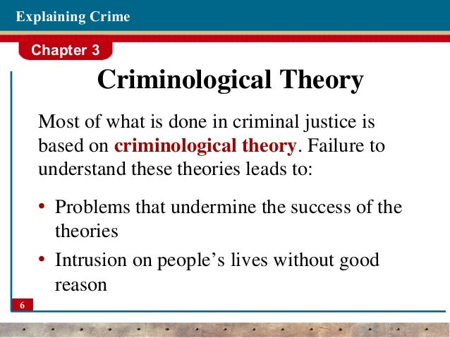 criminological theories Criminological theory an extensive examination of the criminological theories and empirical research that support and challenge these explanations of criminal.