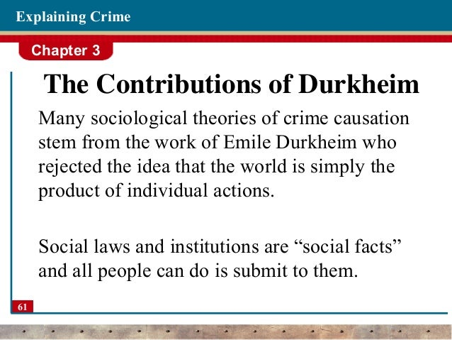 """emile durkheim's theory of crime and David emile durkheim deviance home: major works: functionalism: solidarity and the division of labor: collective representations: deviance: suicide: critique."