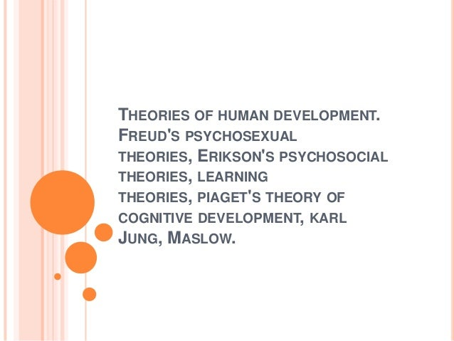 THEORIES OF HUMAN DEVELOPMENT. FREUD'S PSYCHOSEXUAL THEORIES, ERIKSON'S PSYCHOSOCIAL THEORIES, LEARNING THEORIES, PIAGET'S...