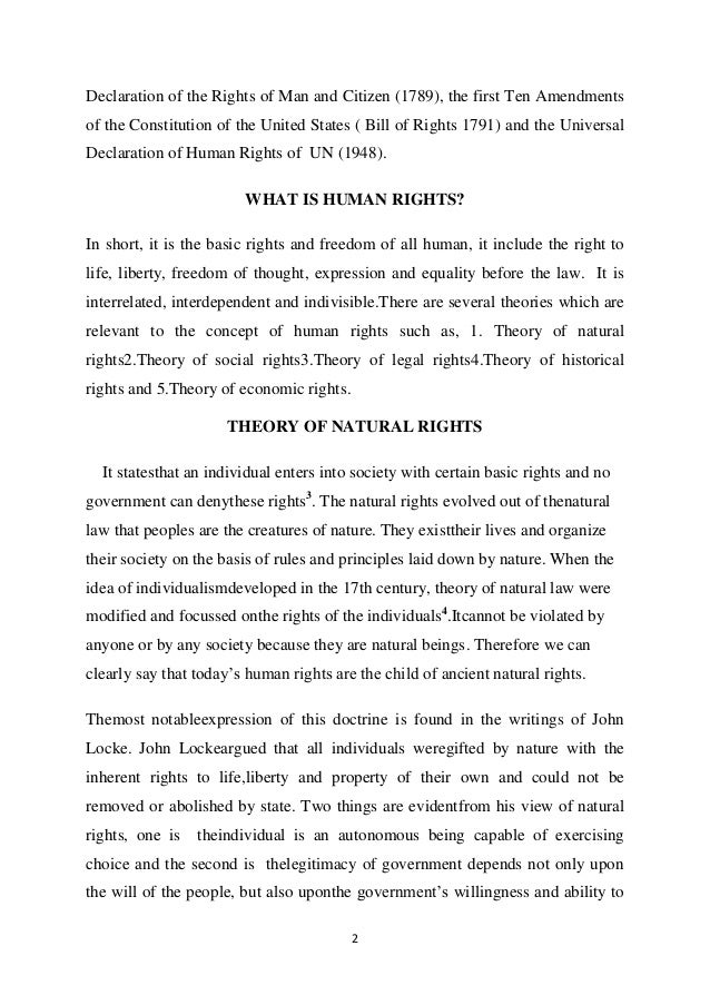 Short essay on the bill of rights