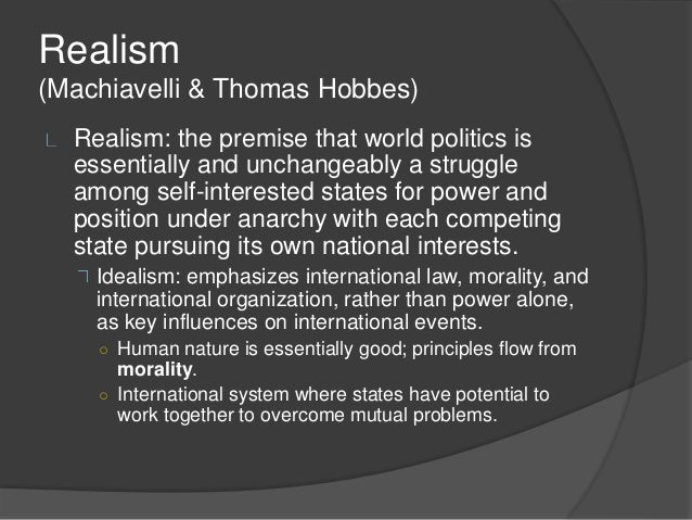 international institutions and realism Neo-realism and humanitarian action: from cold  present the theory of neo-realism in international relations and  the international community.