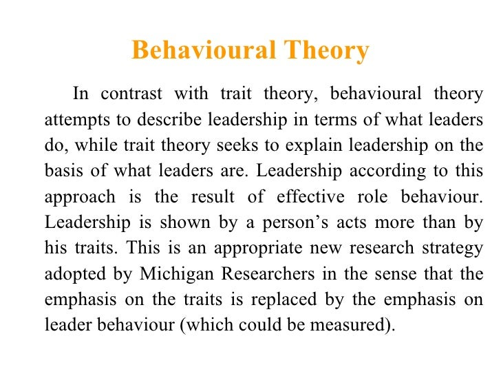 compare two theories of leadership described Info from northouse leadership theory learn with flashcards, games, and more — for free  scale to describe a leader on two categories (relational and task.