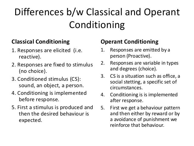 compare contrast classical operant conditioning essay Key concepts what is the difference between operant conditioning and classical conditioning in operant conditioning, a voluntary response is then followed by a reinforcing stimulus in this way, the voluntary response (eg studying for an exam) is more likely to be done by the individual in contrast.