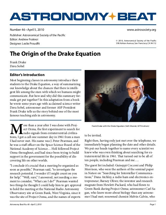 The origin of_drake_equation