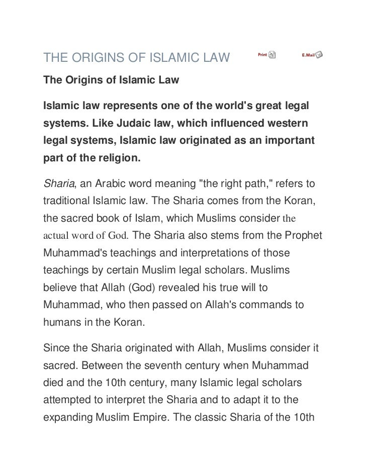 THE ORIGINS OF ISLAMIC LAWThe Origins of Islamic LawIslamic law represents one of the worlds great legalsystems. Like Juda...