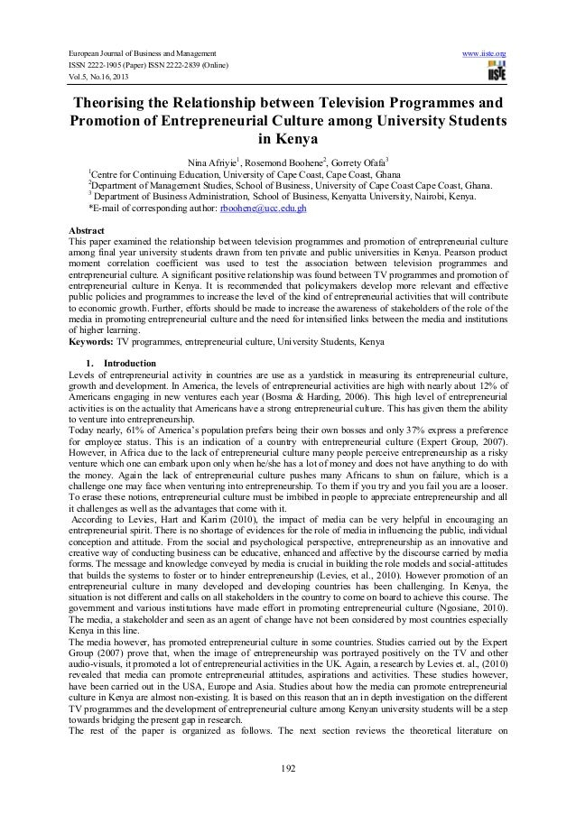 Theorising the relationship between television programmes and promotion of entrepreneurial culture among university students in kenya