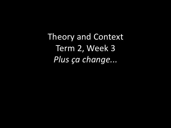 Theory and Context Term 2, Week 3Plus ça change...<br />