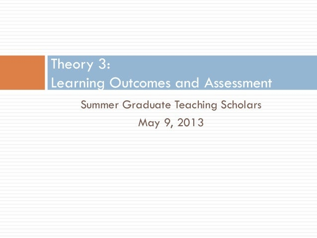Summer Graduate Teaching ScholarsMay 9, 2013Theory 3:Learning Outcomes and Assessment