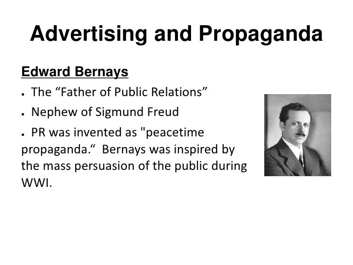 bernays essay Edward bernays, born in vienna in 1891 and famously the nephew of sigmund freud, was perhaps the pioneer in the field of public relations, and highly influential in providing the framework for modern advertising.