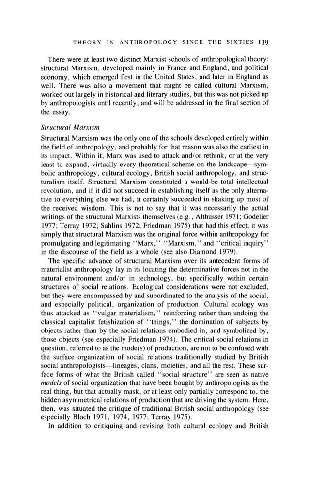 french structural anthropology essay This paper offers a systematic outline and discussion of victor turner's  in sum,  although french structuralist anthropology and turner's processual symbolic.