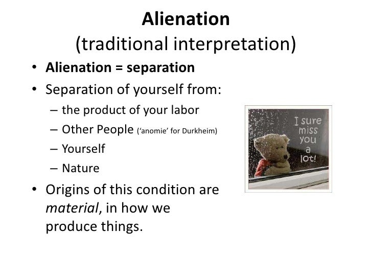 an essay on karl marxs concept of alienation and my opinion