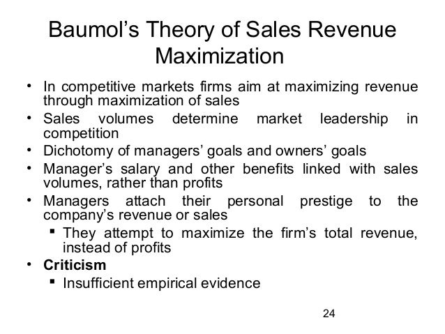 Sales Maximization Theory