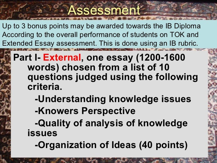 theory of knowledge essay rubric