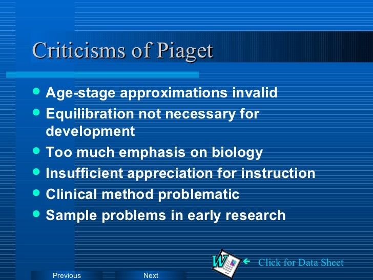 """the criticism of jean piagets theories 4 piaget and cognitive development wadsworth these criticisms of piaget's methodology """"diminish in considered in the evaluation of piaget's theory."""