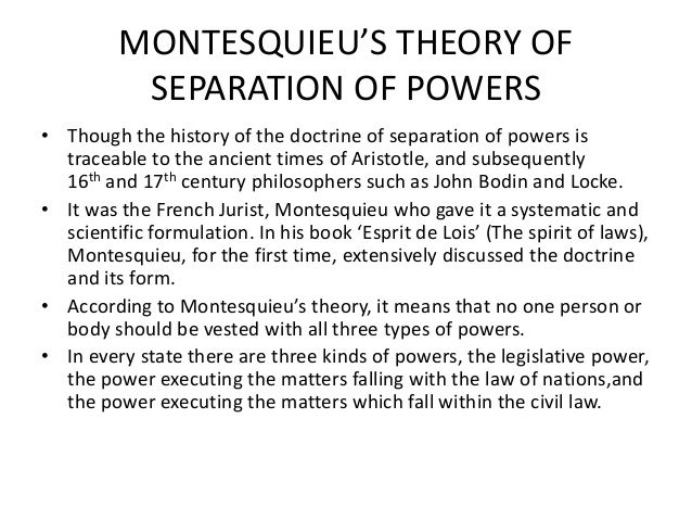 separation of powers doctrine Court must refuse to apply an unconstitutional law, a doctrine which he  was the  father of the doctrine of the separation of powers in the form in.