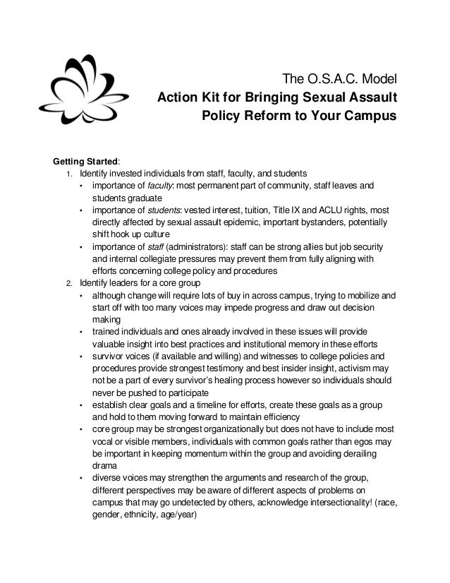The O.S.A.C. Model                          Action Kit for Bringing Sexual Assault                                 Policy ...