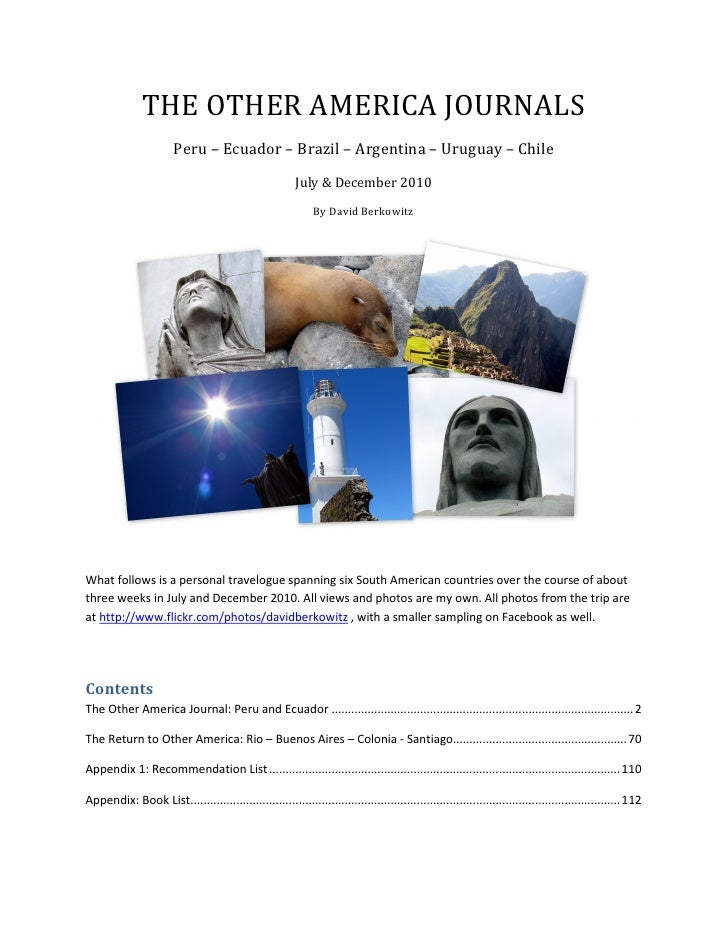 The Other Americas Journal: Travels through South America