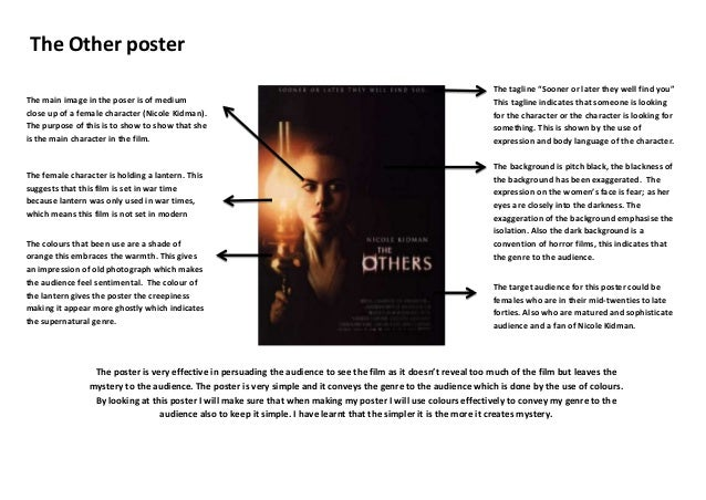 The Other poster The main image in the poser is of medium close up of a female character (Nicole Kidman). The purpose of t...
