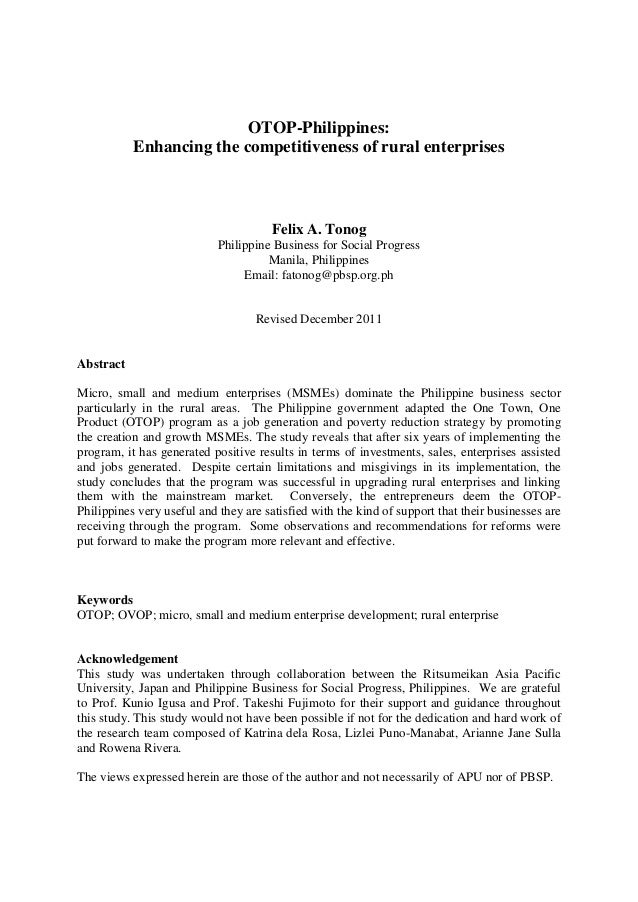 OTOP-Philippines: Enhancing the competitiveness of rural enterprises  Felix A. Tonog Philippine Business for Social Progre...