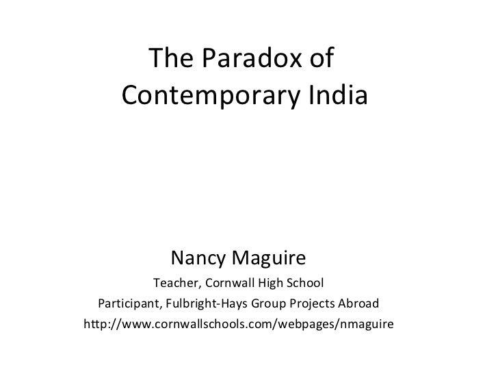 The Paradox of Contemporary India