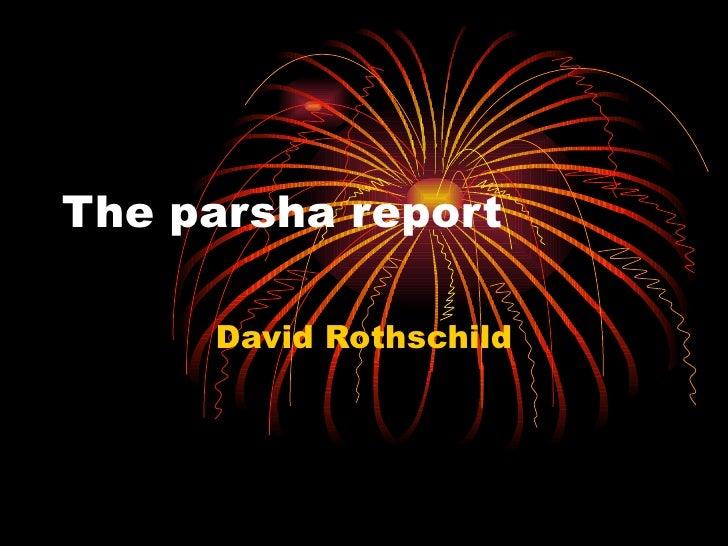 The parsha report David Rothschild