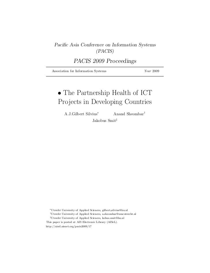 The Partnership Health of ICT Projects in Developing Countries  -  Pacis 2009 Proceedings
