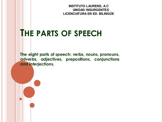 THE PARTS OF SPEECH The eight parts of speech: verbs, nouns, pronouns, adverbs, adjectives, prepositions, conjunctions and...