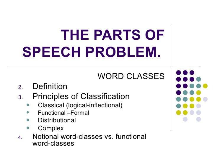 THE PARTS OF SPEECH PROBLEM.  <ul><li>WORD CLASSES </li></ul><ul><li>Definition </li></ul><ul><li>Principles of Classifica...
