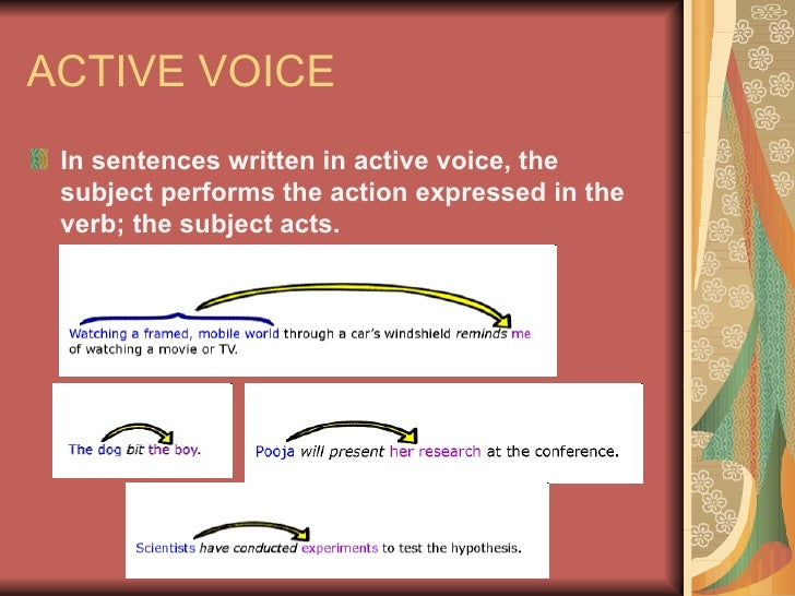 ACTIVE VOICE <ul><li>In sentences written in active voice, the subject performs the action expressed in the verb; the subj...