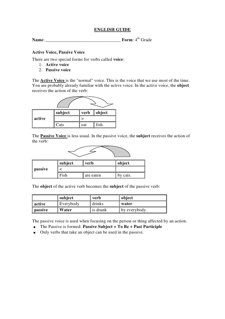ENGLISH GUIDE<br />Name: _________________________________ Form: 4th Grade <br />Active Voice, Passive Voice<br />There ar...