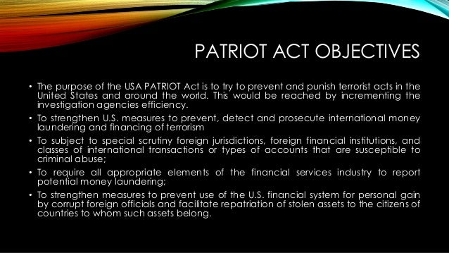 the problem of the patriot act in the united states To intercept and obstruct terrorism (usa patriot) act of 2001, henceforth referred to as the patriot act 1 the patriot act has raised many questions about the extent to which government agencies should be able to collect information about individuals in the united states without first obtaining a search warrant.