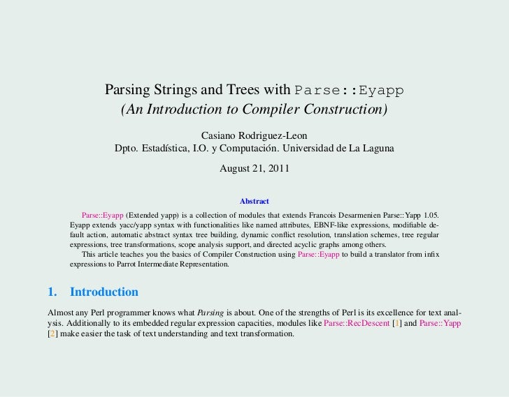 Parsing Strings and Trees with Parse::Eyapp                   (An Introduction to Compiler Construction)                  ...