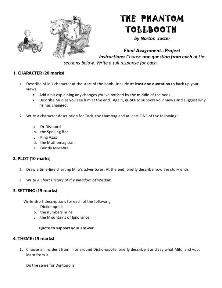 essay questions for the phantom tollbooth