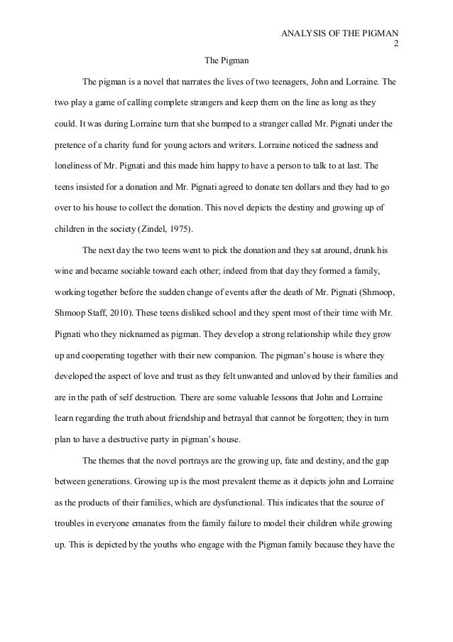 5 paragraph essay on the pigman