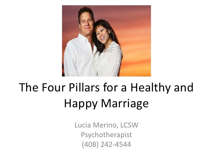 The Four Pillars for a Healthy and Happy Marriage<br />Lucia Merino, LCSW<br />Psychotherapist<br />(408) 242-4544<br />