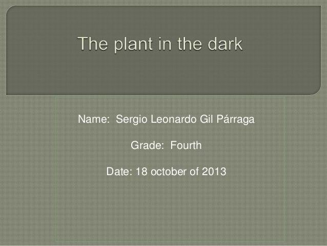 Name: Sergio Leonardo Gil Párraga Grade: Fourth Date: 18 october of 2013