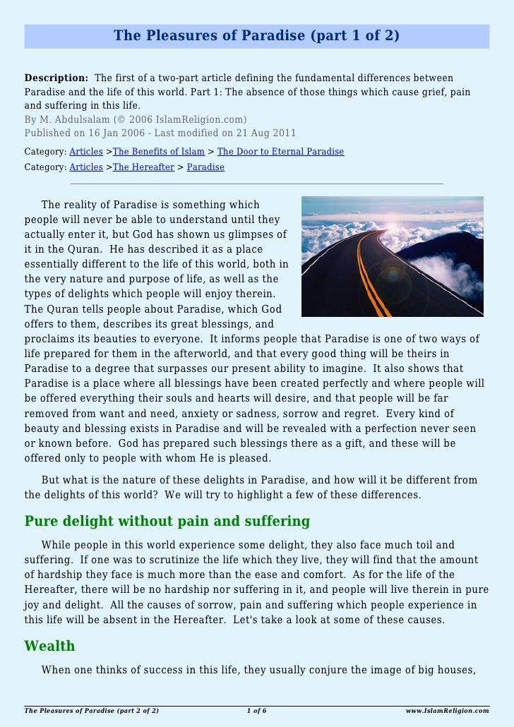 The Pleasures of Paradise (part 1 of 2)Description: The first of a two-part article defining the fundamental differences b...