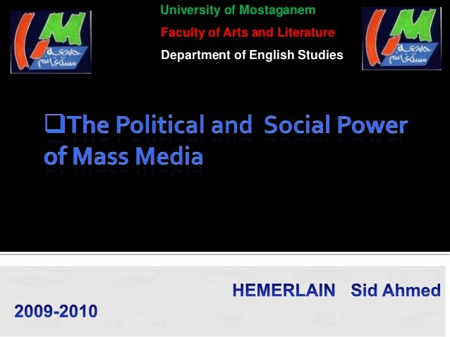 University of MostaganemFaculty of Arts and LiteratureDepartment of English Studies