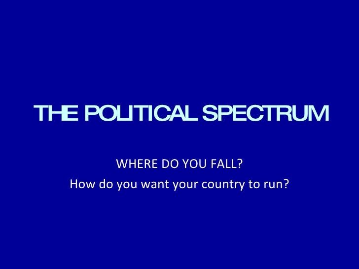 THE POLITICAL SPECTRUM WHERE DO YOU FALL? How do you want your country to run?