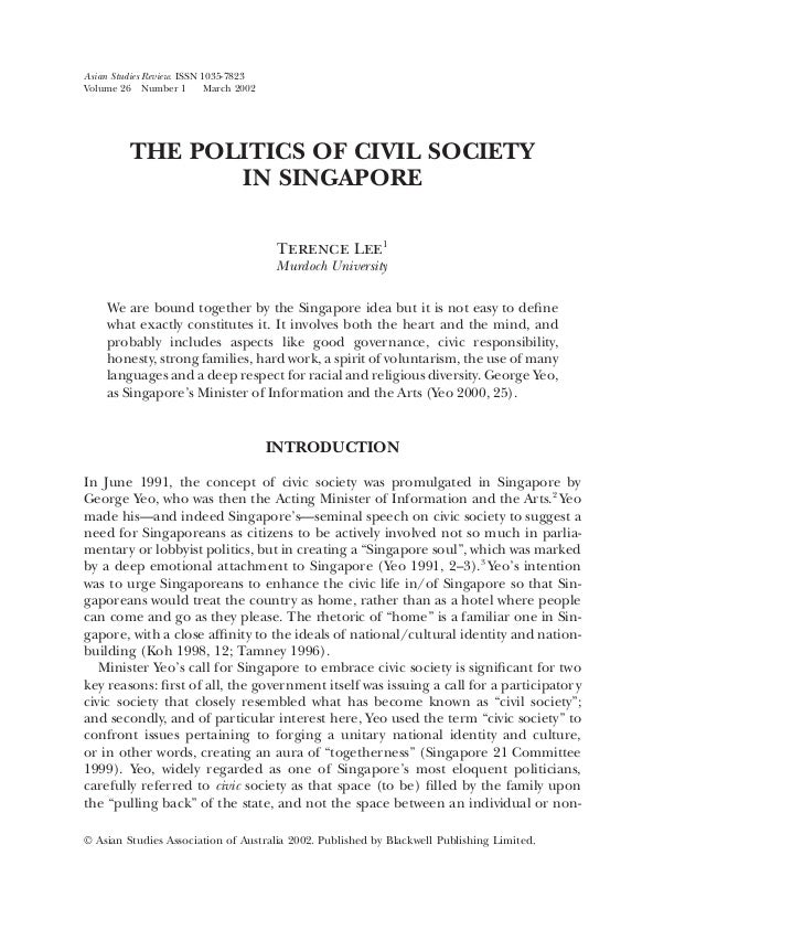 Asian Studies Review. ISSN 1035-7823Volume 26 Number 1          March 2002          THE POLITICS OF CIVIL SOCIETY         ...
