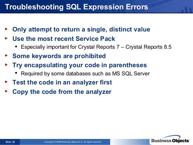 crystal errors report