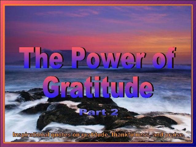 The power of gratitude part 2