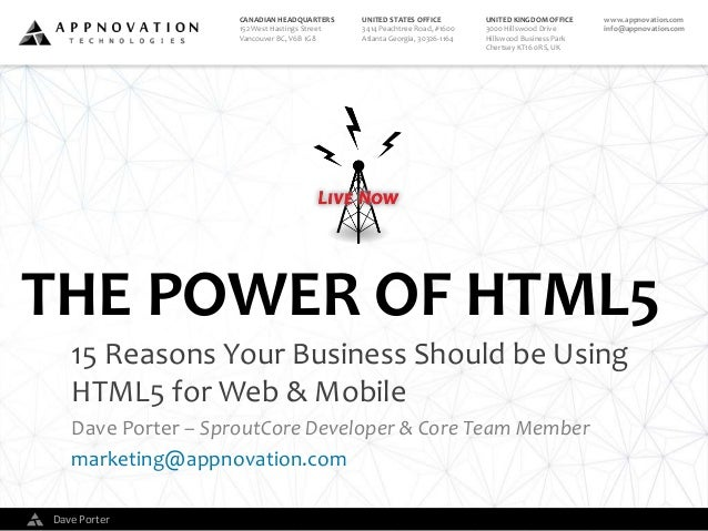 The Power of HTML5: 15 reasons your business should be using HTML5 for web and mobile