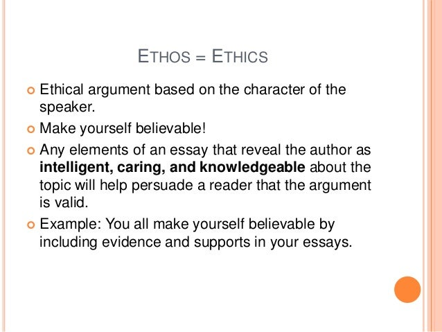 using pathos ethos and logos on essay Pathos, logos, and ethos are rhetorical devices that appeal to our emotions, logic, and morals respectively out of these three, ethos is the most effective in influencing our actions as morals.