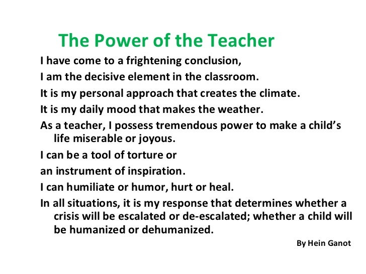 The Power of the Teacher
