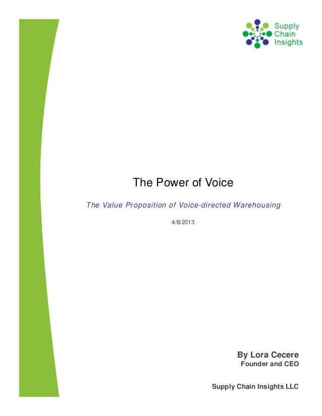 The Power of Voice - The Value Proposition of Voice-directed Warehousing